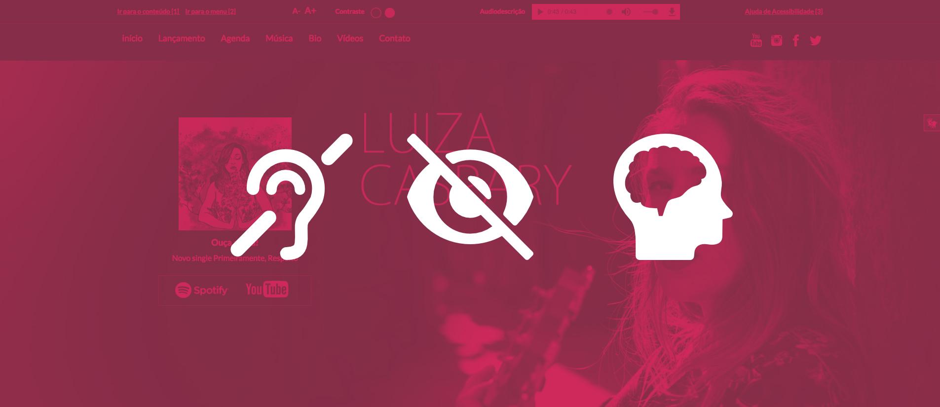 imagem com ícones na cor branca representando as deficiências visuais. auditivas e cognitivas contendo a primeira dobra do site como imagem de fundo em tom rosa