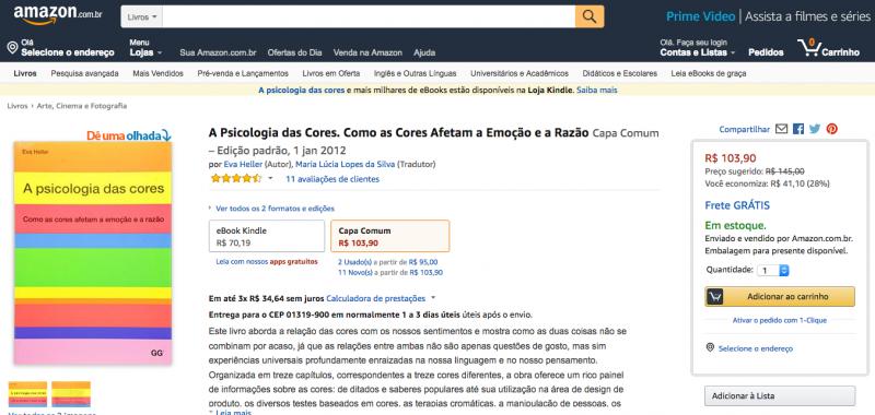 o principal botão de ação da Amazon se evidencia dos demais - adicionar ao carrinho