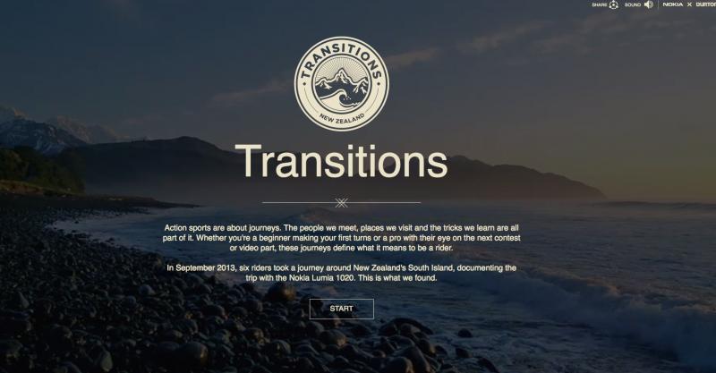 Tela inicial do site Transtitions