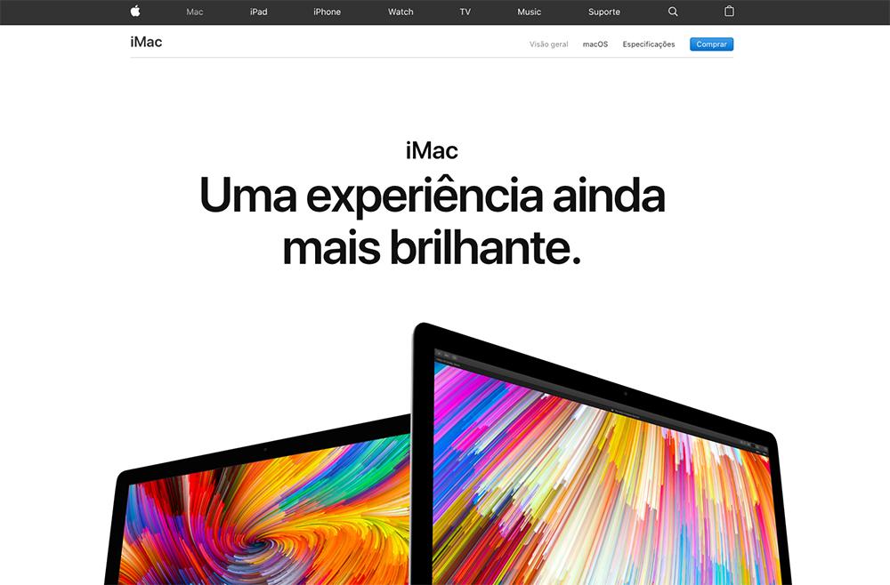site da apple que mostra dois imacs um ao lado do outro com o cta: Uma experiência ainda mais brilhante