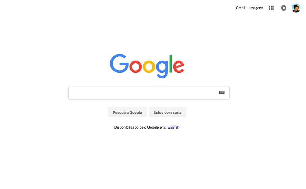 página inicial do google com fundo branco, a logo e a barra de pesquisa