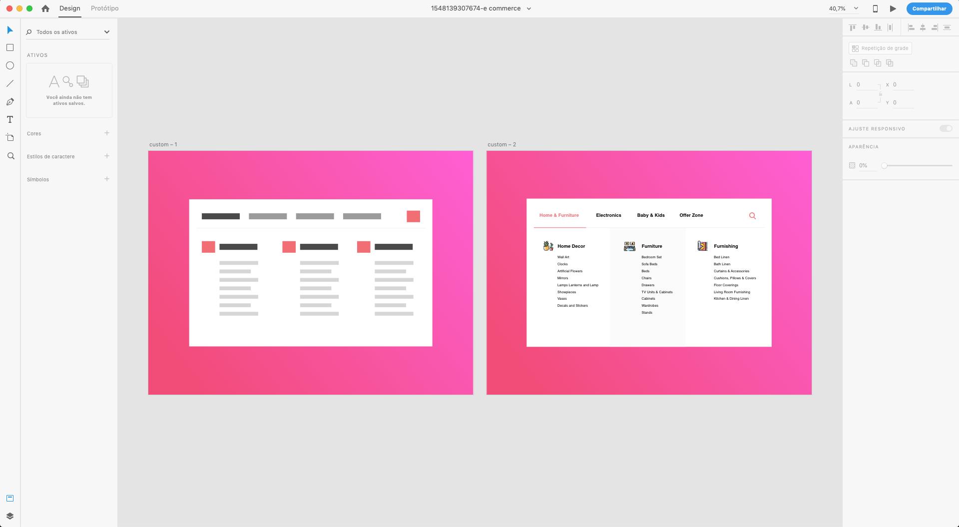 Padrão aberto no Adobe XD